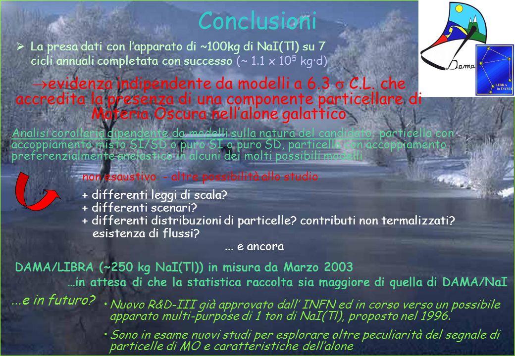 Conclusioni La presa dati con l'apparato di ~100kg di NaI(Tl) su 7 cicli annuali completata con successo (~ 1.1 x 105 kg·d)
