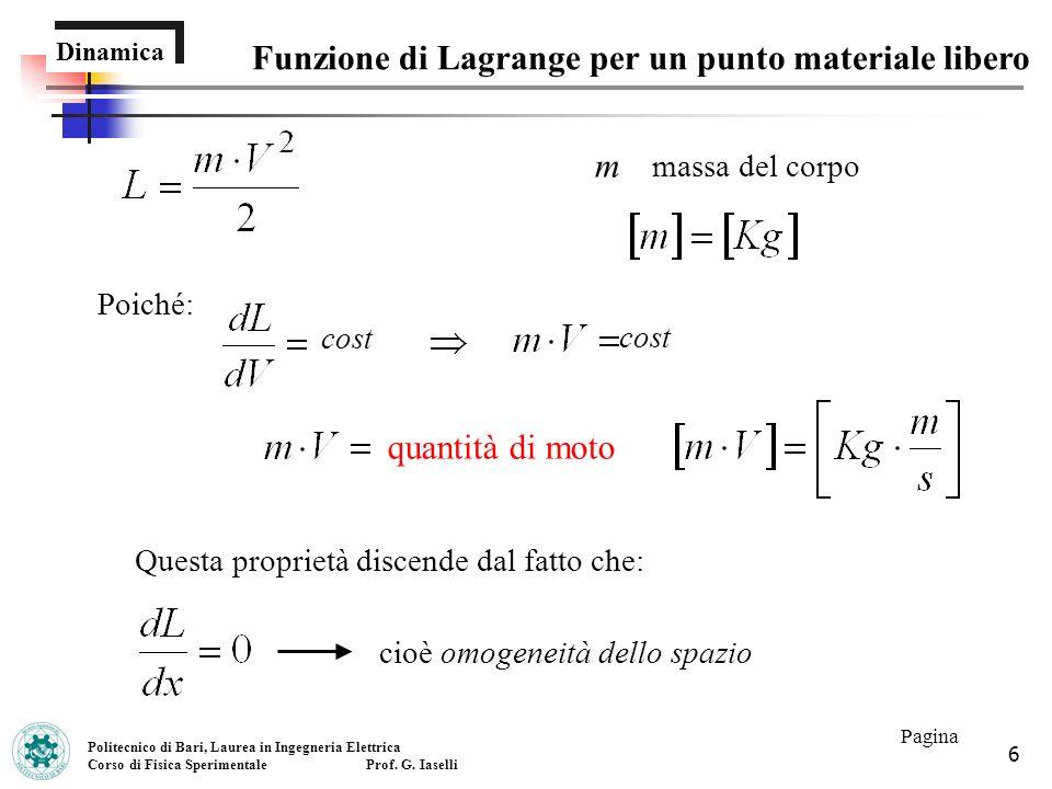 Funzione di Lagrange per un punto materiale libero