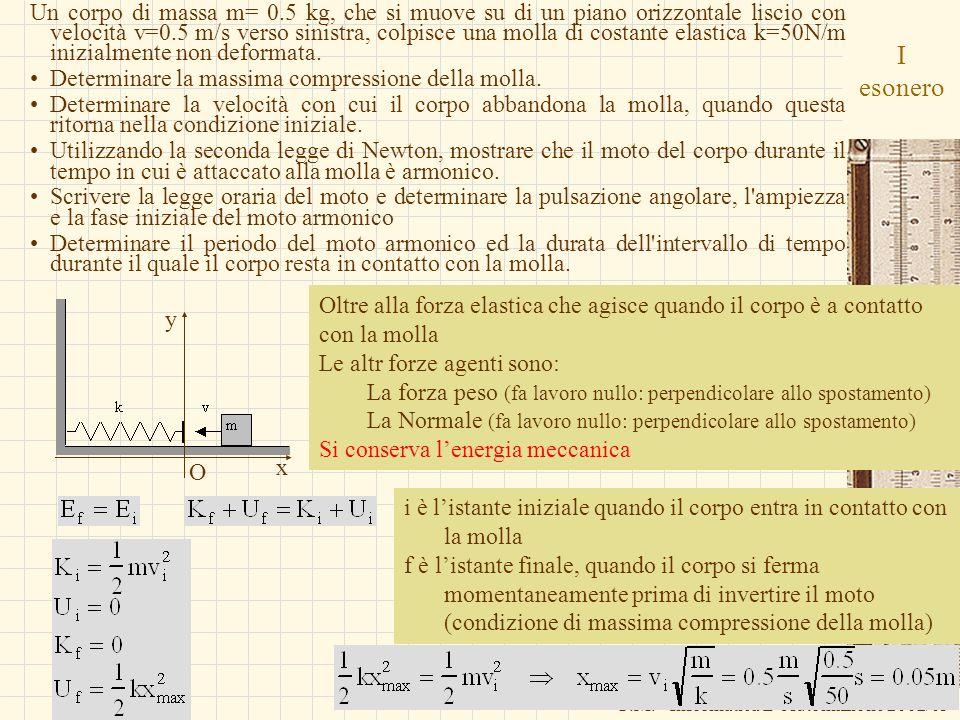 Un corpo di massa m= 0.5 kg, che si muove su di un piano orizzontale liscio con velocità v=0.5 m/s verso sinistra, colpisce una molla di costante elastica k=50N/m inizialmente non deformata.
