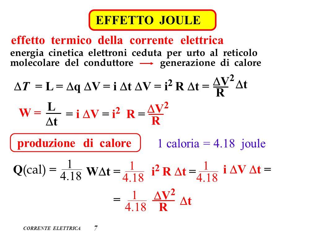 effetto termico della corrente elettrica