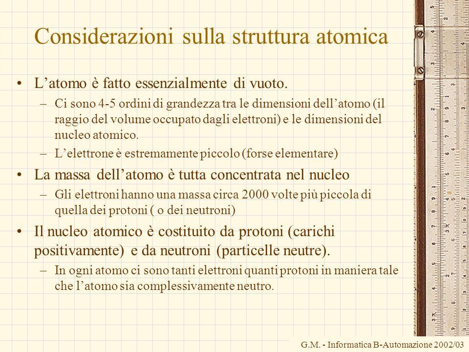 Considerazioni sulla struttura atomica