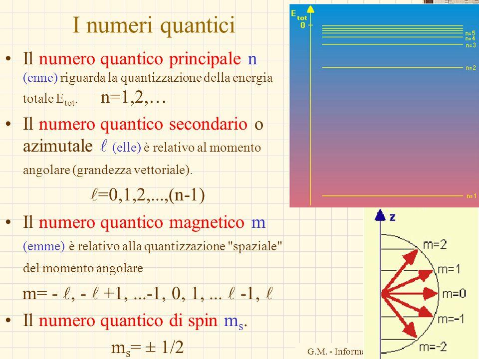 I numeri quantici Il numero quantico principale n (enne) riguarda la quantizzazione della energia totale Etot. n=1,2,…