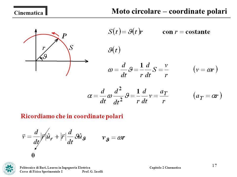 Moto circolare – coordinate polari Ricordiamo che in coordinate polari