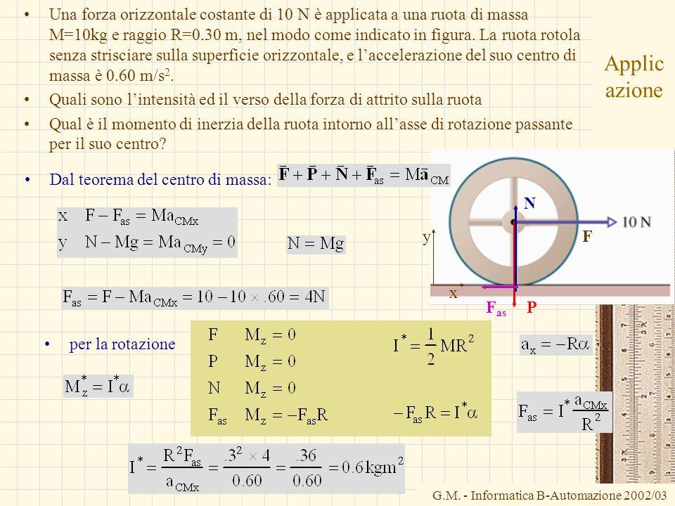 Una forza orizzontale costante di 10 N è applicata a una ruota di massa M=10kg e raggio R=0.30 m, nel modo come indicato in figura. La ruota rotola senza strisciare sulla superficie orizzontale, e l'accelerazione del suo centro di massa è 0.60 m/s2.