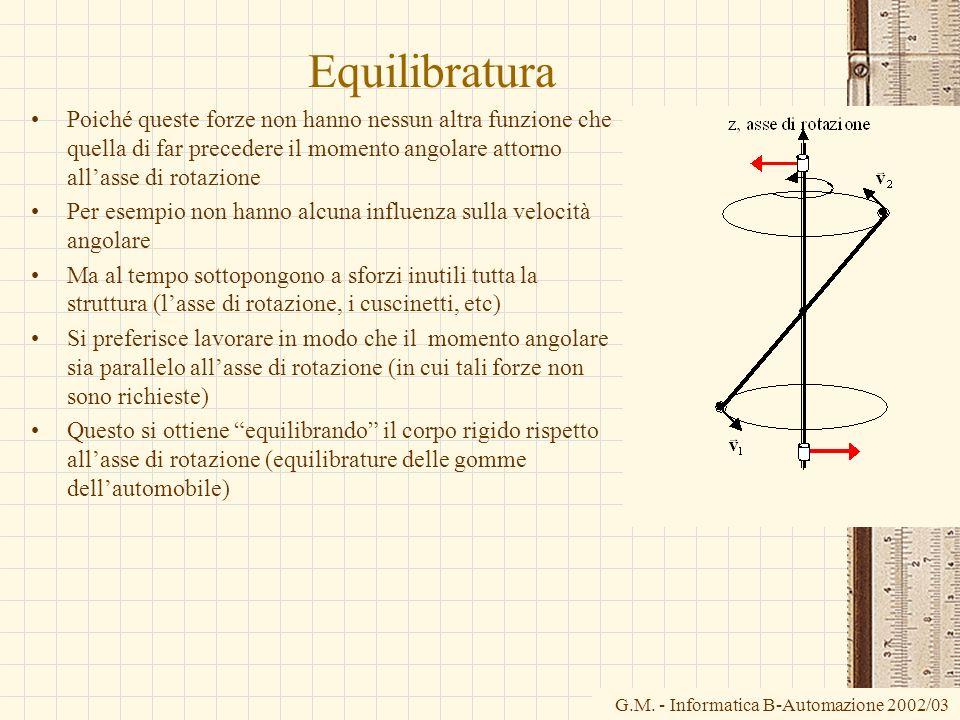 Equilibratura Poiché queste forze non hanno nessun altra funzione che quella di far precedere il momento angolare attorno all'asse di rotazione.