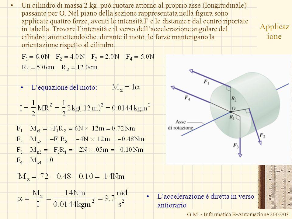 Un cilindro di massa 2 kg può ruotare attorno al proprio asse (longitudinale) passante per O. Nel piano della sezione rappresentata nella figura sono applicate quattro forze, aventi le intensità F e le distanze r dal centro riportate in tabella. Trovare l'intensità e il verso dell'accelerazione angolare del cilindro, ammettendo che, durante il moto, le forze mantengano la orientazione rispetto al cilindro.
