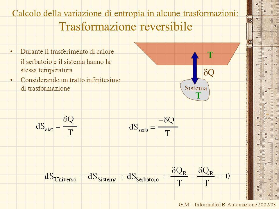Calcolo della variazione di entropia in alcune trasformazioni: Trasformazione reversibile