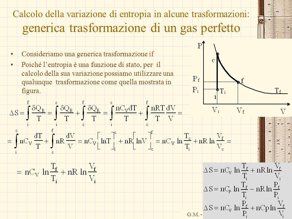 Calcolo della variazione di entropia in alcune trasformazioni: generica trasformazione di un gas perfetto
