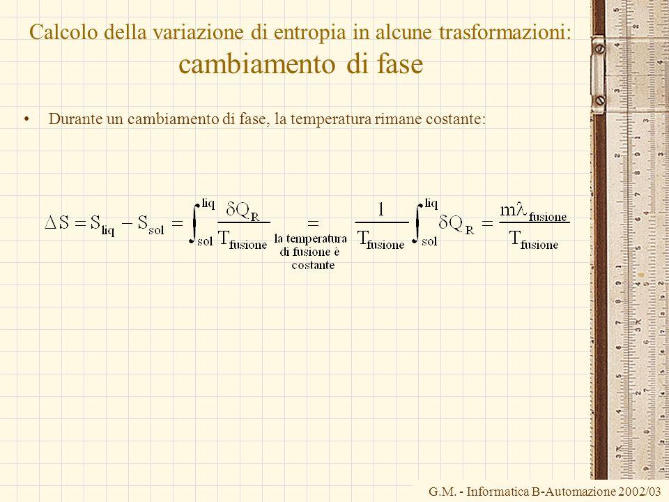 Calcolo della variazione di entropia in alcune trasformazioni: cambiamento di fase