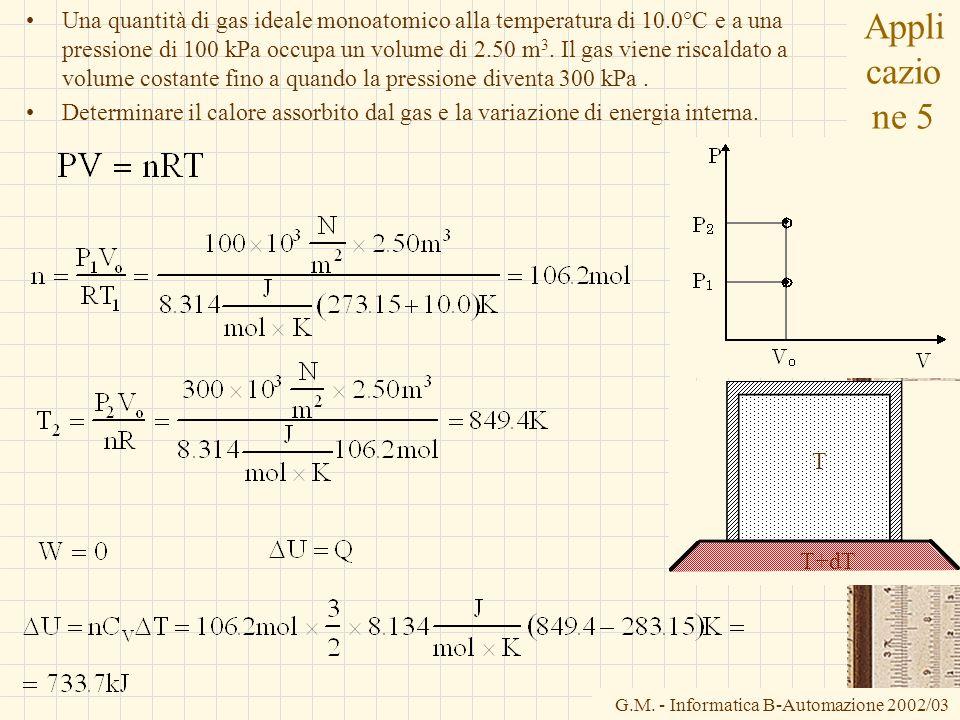 Una quantità di gas ideale monoatomico alla temperatura di 10