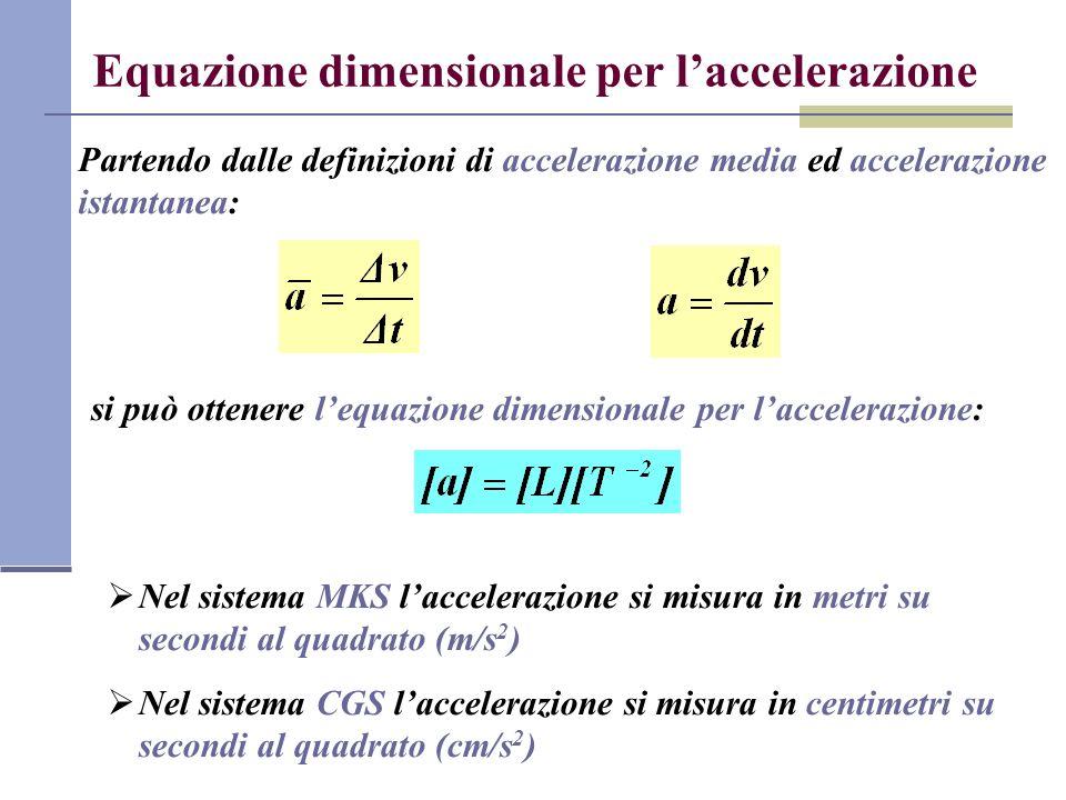 Equazione dimensionale per l'accelerazione