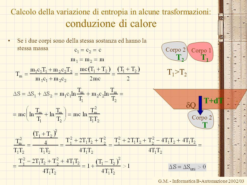 Calcolo della variazione di entropia in alcune trasformazioni: conduzione di calore