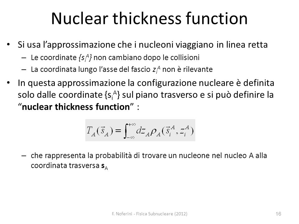 Nuclear thickness function