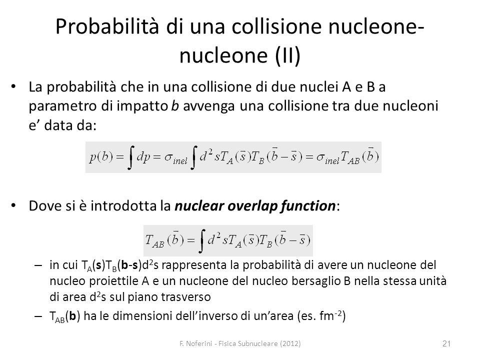 Probabilità di una collisione nucleone-nucleone (II)