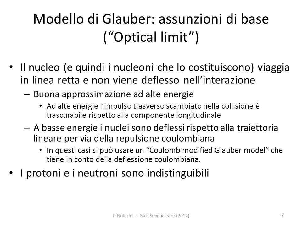 Modello di Glauber: assunzioni di base ( Optical limit )