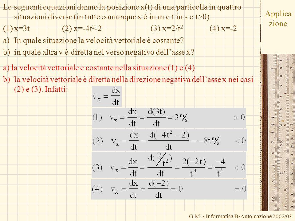 Le seguenti equazioni danno la posizione x(t) di una particella in quattro situazioni diverse (in tutte comunque x è in m e t in s e t>0)