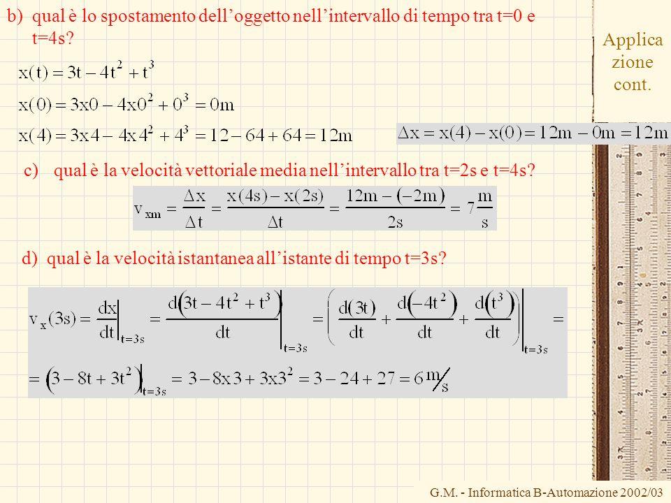 b) qual è lo spostamento dell'oggetto nell'intervallo di tempo tra t=0 e t=4s