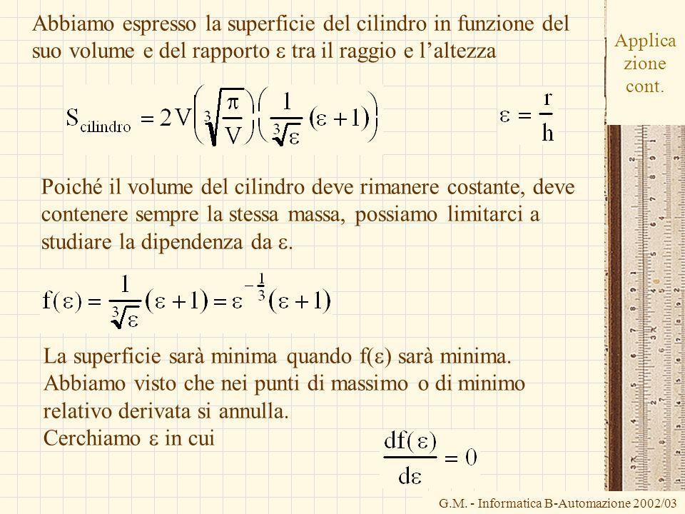 La superficie sarà minima quando f(e) sarà minima.
