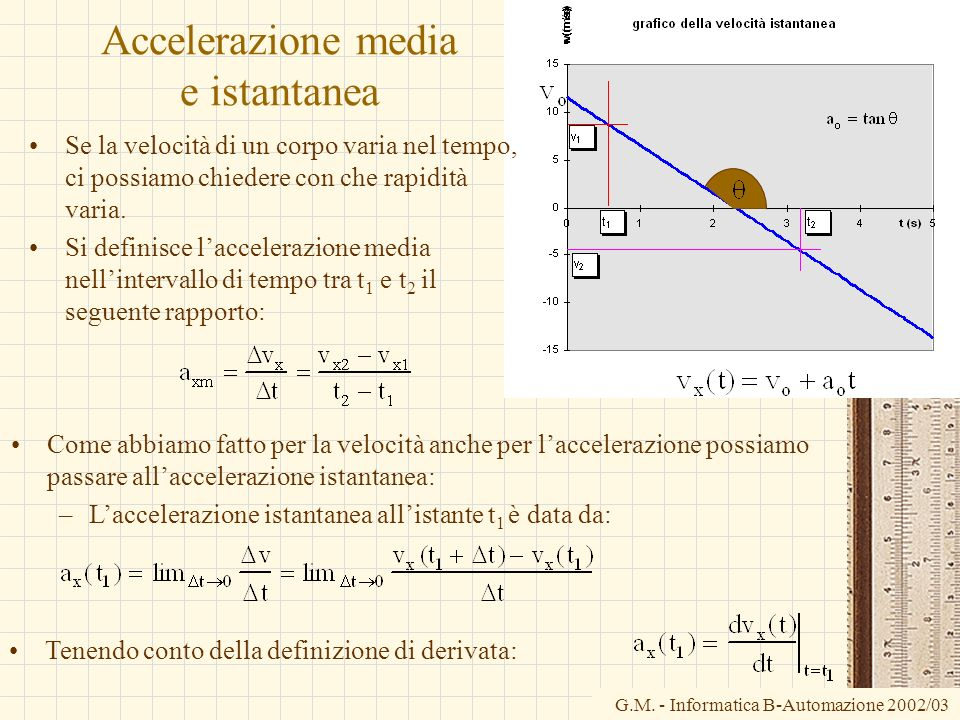 Accelerazione media e istantanea