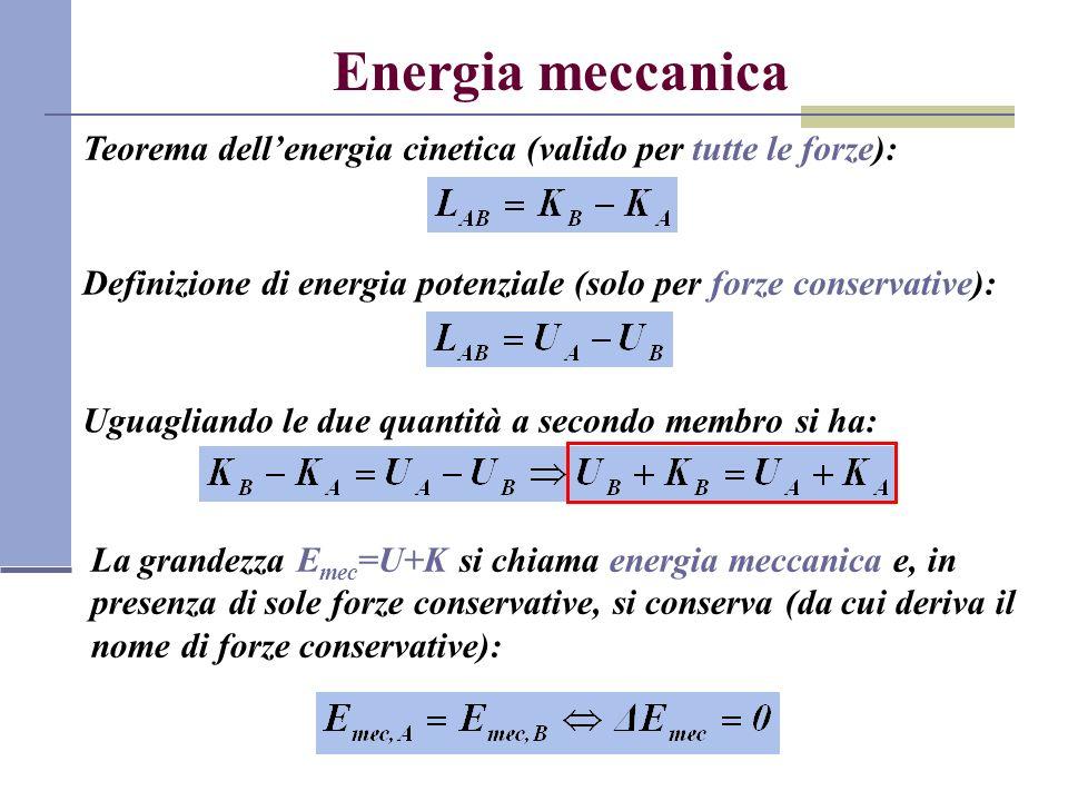 Energia meccanica Teorema dell'energia cinetica (valido per tutte le forze): Definizione di energia potenziale (solo per forze conservative):