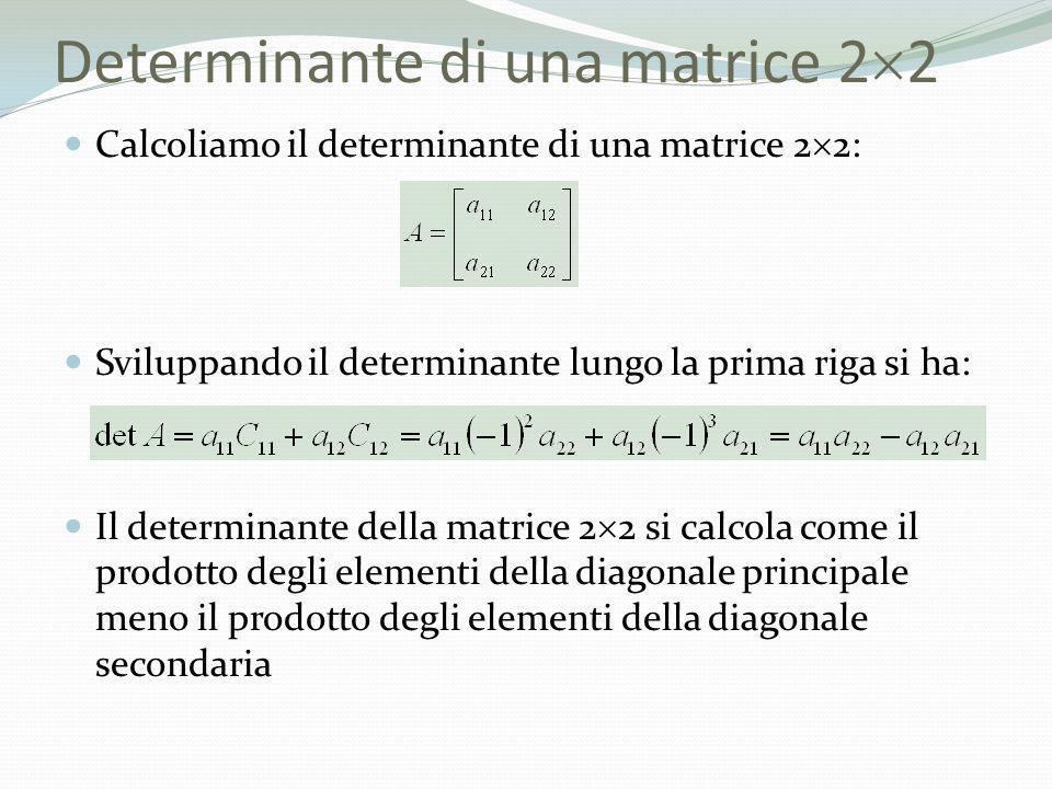 Determinante di una matrice 22