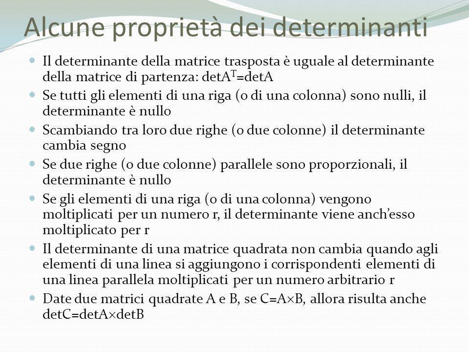 Alcune proprietà dei determinanti