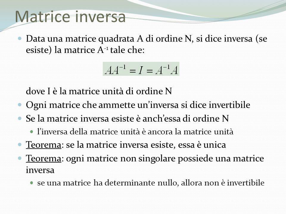 Matrice inversa Data una matrice quadrata A di ordine N, si dice inversa (se esiste) la matrice A-1 tale che: