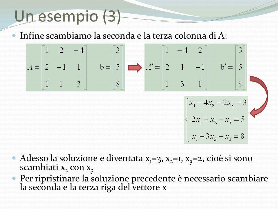 Un esempio (3) Infine scambiamo la seconda e la terza colonna di A: