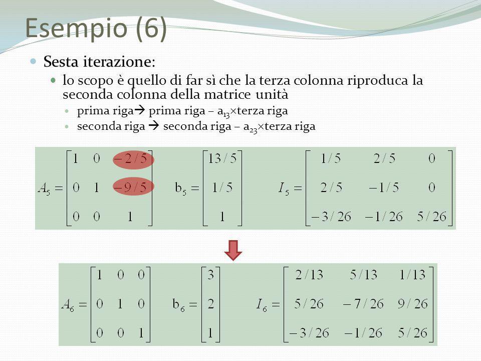 Esempio (6) Sesta iterazione: