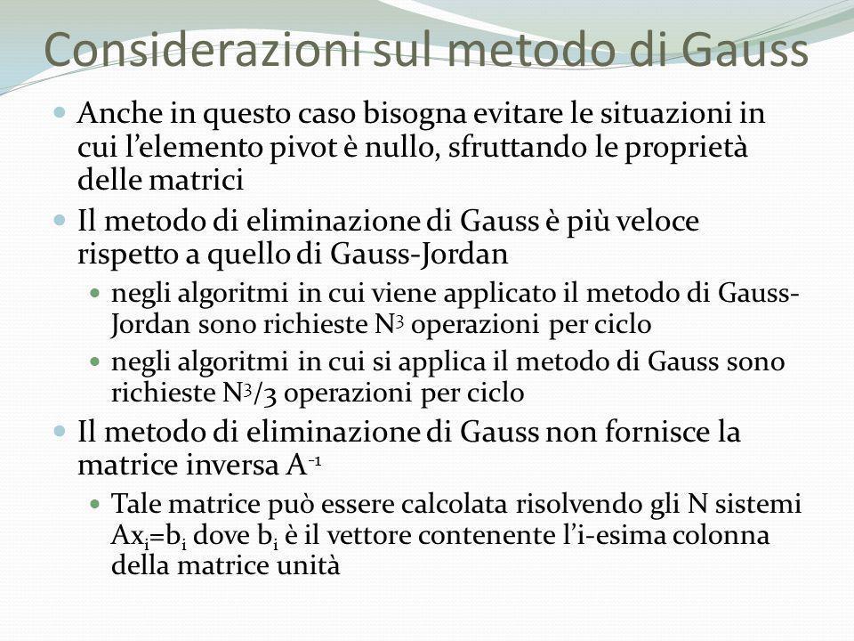Considerazioni sul metodo di Gauss