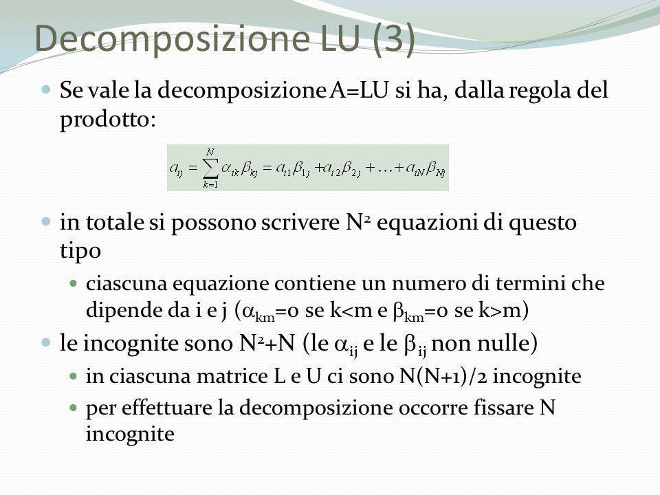 Decomposizione LU (3) Se vale la decomposizione A=LU si ha, dalla regola del prodotto: in totale si possono scrivere N2 equazioni di questo tipo.