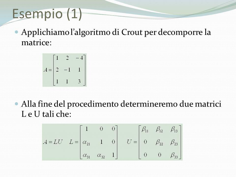 Esempio (1) Applichiamo l'algoritmo di Crout per decomporre la matrice: Alla fine del procedimento determineremo due matrici L e U tali che: