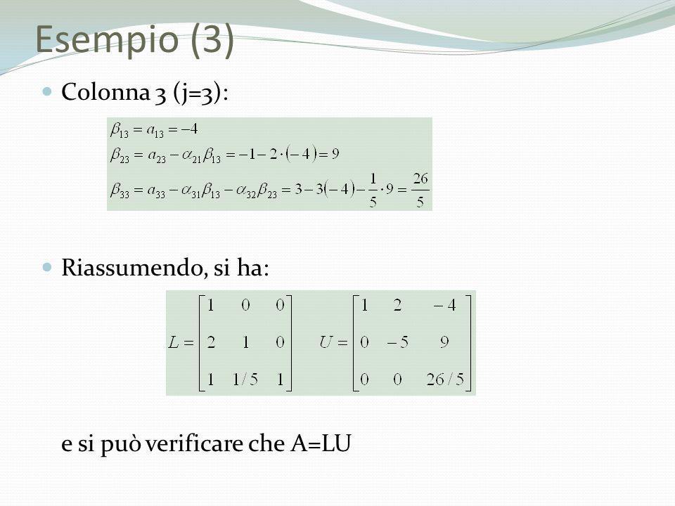 Esempio (3) Colonna 3 (j=3): Riassumendo, si ha: