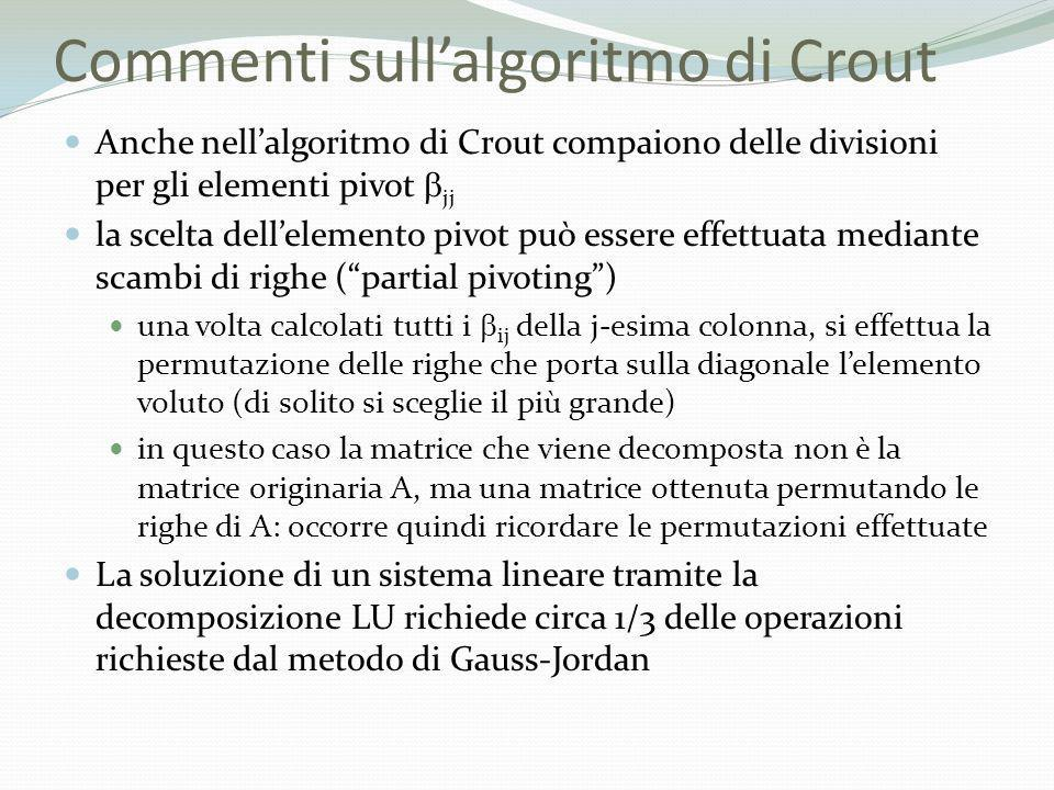 Commenti sull'algoritmo di Crout