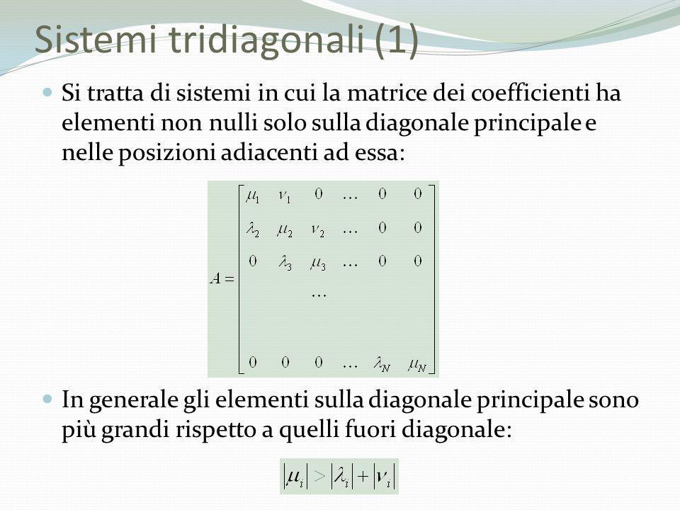 Sistemi tridiagonali (1)