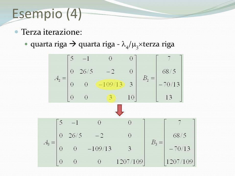 Esempio (4) Terza iterazione: