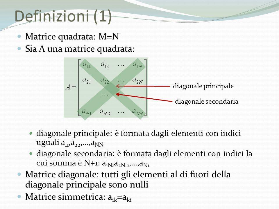 Definizioni (1) Matrice quadrata: M=N Sia A una matrice quadrata: