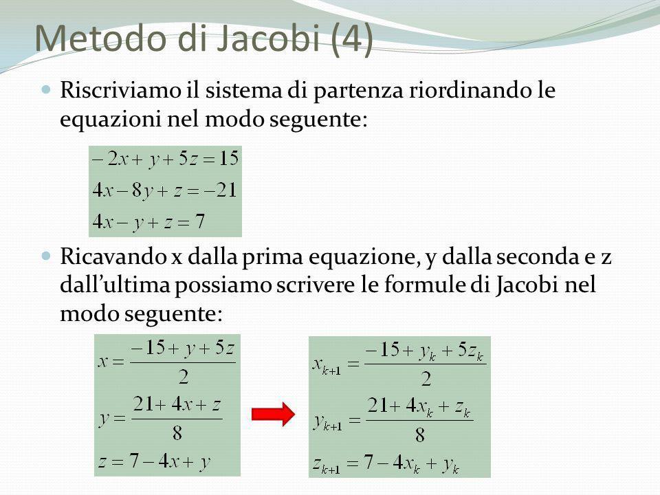 Metodo di Jacobi (4) Riscriviamo il sistema di partenza riordinando le equazioni nel modo seguente: