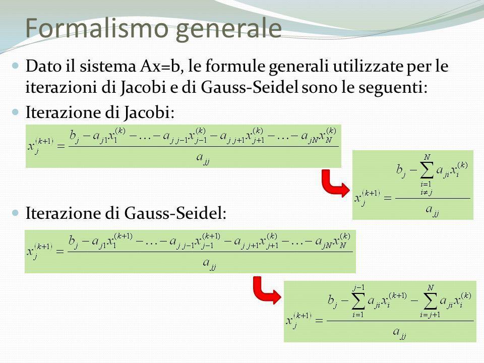 Formalismo generale Dato il sistema Ax=b, le formule generali utilizzate per le iterazioni di Jacobi e di Gauss-Seidel sono le seguenti: