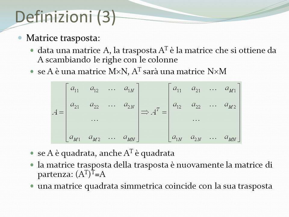 Definizioni (3) Matrice trasposta: