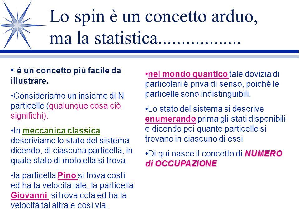 Lo spin è un concetto arduo, ma la statistica..................