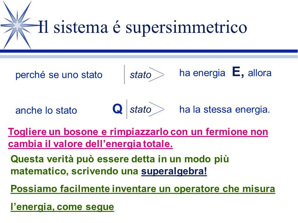 Il sistema é supersimmetrico