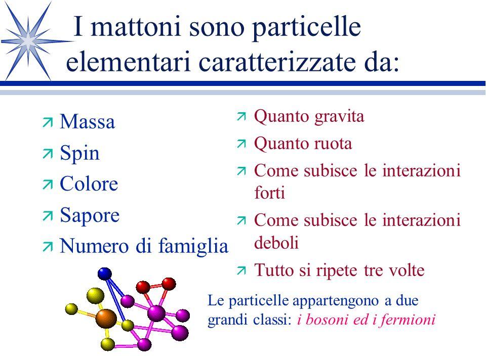 I mattoni sono particelle elementari caratterizzate da: