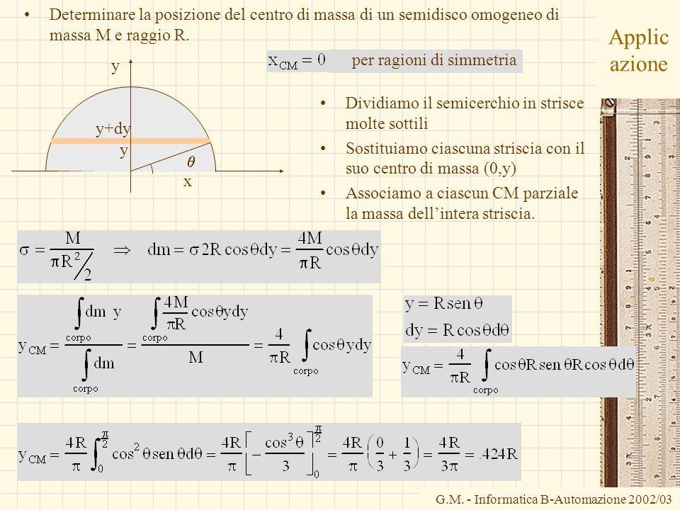 Determinare la posizione del centro di massa di un semidisco omogeneo di massa M e raggio R.