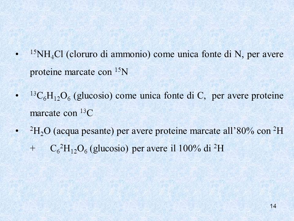 15NH4Cl (cloruro di ammonio) come unica fonte di N, per avere proteine marcate con 15N