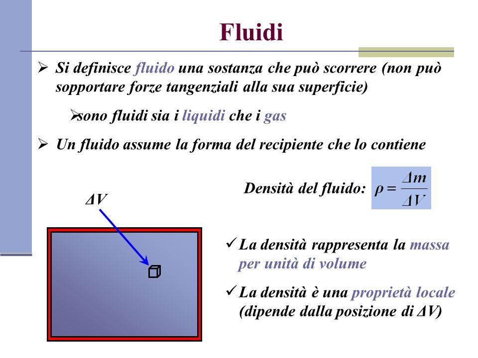 Fluidi Si definisce fluido una sostanza che può scorrere (non può sopportare forze tangenziali alla sua superficie)