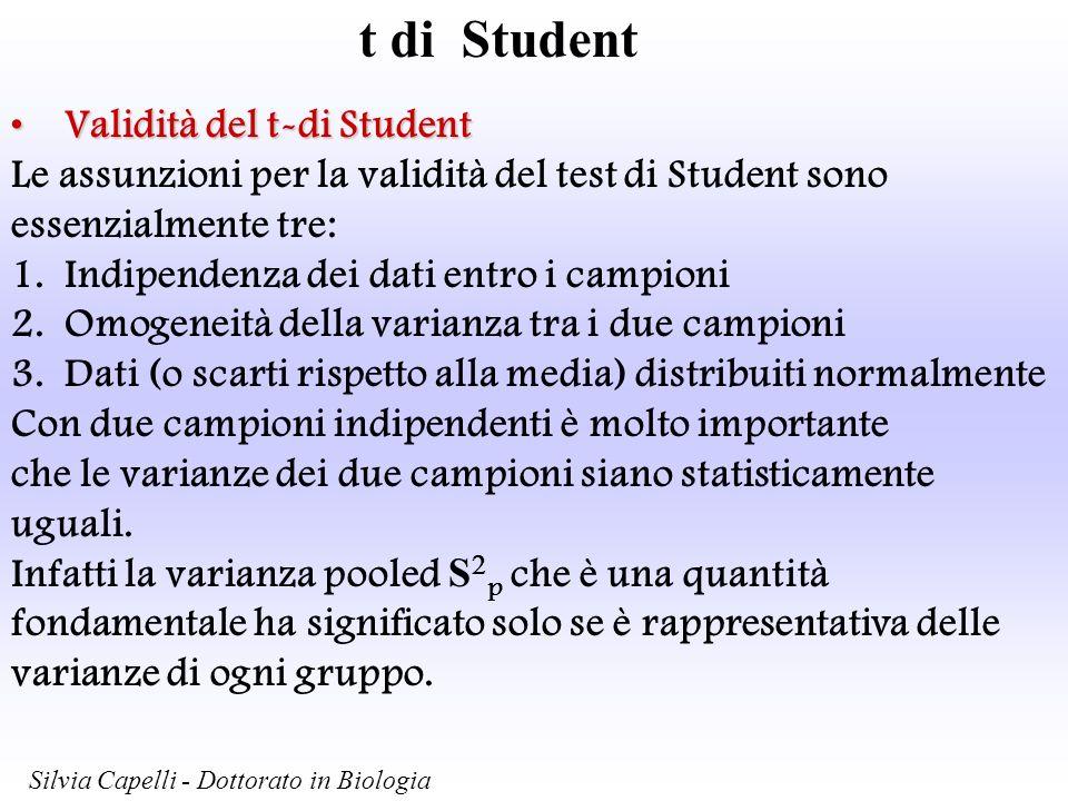 t di Student Validità del t-di Student