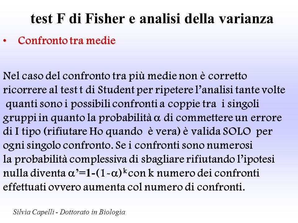 test F di Fisher e analisi della varianza