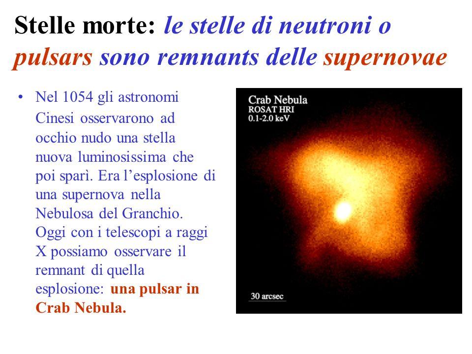 Stelle morte: le stelle di neutroni o pulsars sono remnants delle supernovae