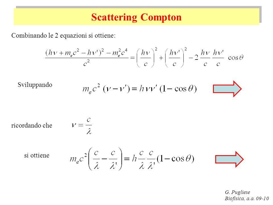 Scattering Compton Combinando le 2 equazioni si ottiene: Sviluppando